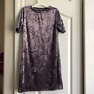 NWOT Dusty Purple Velvet T-Shirt Dress